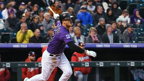 <p>               Colorado Rockies' Nolan Arenado watches his double during the second inning against the Washington Nationals in a baseball game Friday, Sept. 28, 2018, in Denver. (AP Photo/John Leyba)             </p>