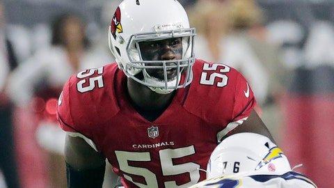 <p>               FILE - In this Aug. 11, 2018, file photo, Arizona Cardinals defensive end Chandler Jones (55) looks over the line of scrimmage during the first half of an preseason NFL football game against the Los Angeles Chargers in Glendale, Ariz. With his MMA-trained hands knocking would-be blockers out of the way, the defensive end has quietly established himself as one of the best in the game. (AP Photo/Rick Scuteri, File)             </p>
