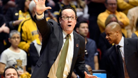 <p>               FILE - In this March 16, 2018, file photo, Wichita State head coach Gregg Marshall reacts during the first half of a first-round NCAA college basketball tournament game against Marshall in San Diego. Marshall is doing a lot more teaching than normal this season after losing almost everyone from last year's team. (AP Photo/Denis Poroy, File)             </p>