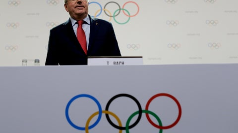 <p>               International Olympic Committee President Thomas Bach arrives for a press conference in Buenos Aires, Argentina, Thursday, Oct. 4, 2018. Bach said the IOC has dropped the Turkish city of Erzurum from the 2026 Winter Olympic bidding contest and that three bids will be proposed as official candidates for approval by the full membership next week. They are: Calgary, Canada; Stockholm, Sweden; and the combined Italian bid of Milan and Cortina d'Ampezzo. (AP Photo/Natacha Pisarenko)             </p>