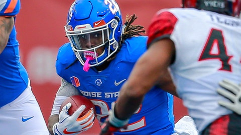 <p>               Boise State running back Alexander Mattison (22) runs with the ball against San Diego State in the first half of an NCAA college football game, Saturday, Oct. 6, 2018, in Boise, Idaho. (AP Photo/Steve Conner)             </p>
