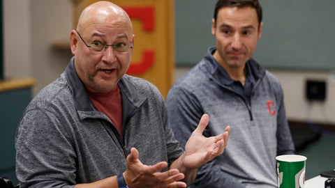 <p>               Cleveland Indians manager Terry Francona, left, speaks during a news conference, Wednesday, Oct. 10, 2018, in Cleveland, as President of baseball operations Chris Antonetti looks on. The Indians were so close in 2016, when they took the Chicago Cubs into extra innings in Game 7 of the World Series. Now they've lost six straight playoff games. (AP Photo/Tony Dejak)             </p>