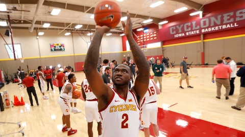 <p>               Iowa State forward Cameron Lard (2) shoots a basket during Iowa State's NCAA college basketball media day, Thursday, Oct. 11, 2018, in Ames, Iowa. (AP Photo/Charlie Neibergall)             </p>