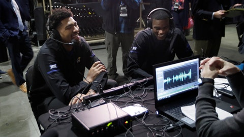 <p>               Kansas players Dedric Lawson, left, and Lagerald Vick, right, sit for interviews during the Big 12 conference NCAA college basketball media day in Kansas City, Mo., Wednesday, Oct. 24, 2018. (AP Photo/Orlin Wagner)             </p>