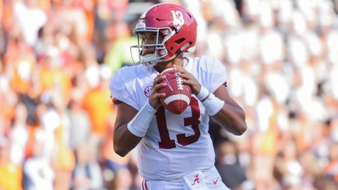 Oct 20, 2018; Knoxville, TN, USA; Alabama Crimson Tide quarterback Tua Tagovailoa (13) looks to pass the ball against the Tennessee Volunteers during the first half at Neyland Stadium. Mandatory Credit: Randy Sartin-USA TODAY Sports