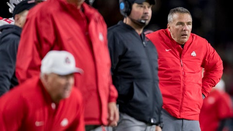 WEST LAFAYETTE, IN - OCTOBER 20: Head coach Urban Meyer of the Ohio State Buckeyes watches a field goal during the game against the Purdue Boilermakers at Ross-Ade Stadium on October 20, 2018 in West Lafayette, Indiana. (Photo by Michael Hickey/Getty Images)