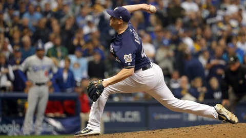 MILWAUKEE, WI - OCTOBER 12:  Corey Knebel #46 of the Milwaukee Brewers pitches in the ninth inning of Game 1 of the NLCS against the Los Angeles Dodgers at Miller Park on Friday, October 12, 2018 in Milwaukee, Wisconsin. (Photo by Alex Trautwig/MLB Photos via Getty Images)