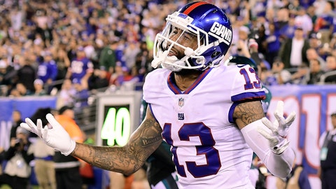 EAST RUTHERFORD, NJ - OCTOBER 11:  Odell Beckham #13 of the New York Giants looks for a pass interference call from the official after the intended pass was broken up by Jalen Mills (not pictured) #31 of the Philadelphia Eagles at MetLife Stadium on October 11, 2018 in East Rutherford, New Jersey.  The Eagles defeated the Giants 34-13.  (Photo by Steven Ryan/Getty Images)