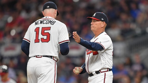 Apr 2, 2018; Atlanta, GA, USA; Atlanta Braves manager Brian Snitker (43) removes starting pitcher Sean Newcomb (15) from the game against the Washington Nationals during the fifth inning at SunTrust Park. Mandatory Credit: Dale Zanine-USA TODAY Sports