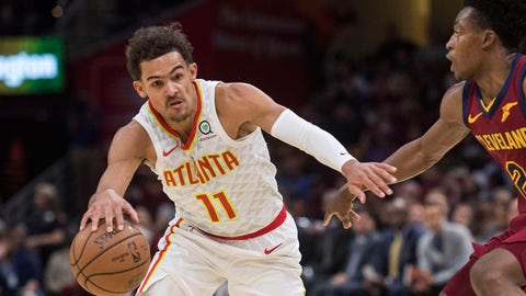 Oct 21, 2018; Cleveland, OH, USA; Atlanta Hawks guard Trae Young (11) moves to the basket against Cleveland Cavaliers guard Collin Sexton (2) during the first half at Quicken Loans Arena. Mandatory Credit: Ken Blaze-USA TODAY Sports