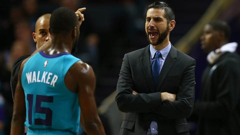Oct 26, 2018; Charlotte, NC, USA; Charlotte Hornets head coach James Borrego talks with guard Kemba Walker (15) in the second half against the Chicago Bulls at Spectrum Center. Mandatory Credit: Jeremy Brevard-USA TODAY Sports