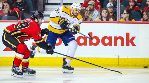Oct 19, 2018; Calgary, Alberta, CAN; Nashville Predators center Zac Rinaldo (36) shoot the puck against the Calgary Flames during the second period at Scotiabank Saddledome. Mandatory Credit: Sergei Belski-USA TODAY Sports