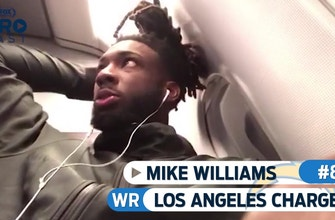 Mike Williams and the Chargers are feeling good vibes on the plane ride back from London