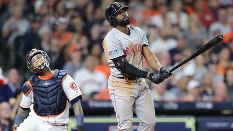 HOUSTON, TX - OCTOBER 17:  Jackie Bradley Jr. #19 of the Boston Red Sox reacts after hitting a two-run home run in the sixth inning against the Houston Astros during Game Four of the American League Championship Series at Minute Maid Park on October 17, 2018 in Houston, Texas.  (Photo by Elsa/Getty Images)