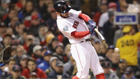 BOSTON, MA - OCTOBER 24:  Ian Kinsler #5 of the Boston Red Sox hits an RBI single during the second inning against the Los Angeles Dodgers in Game Two of the 2018 World Series at Fenway Park on October 24, 2018 in Boston, Massachusetts.  (Photo by Maddie Meyer/Getty Images)