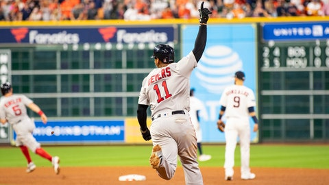 HOUSTON, TX - OCTOBER 18: Rafael Devers #11 of the Boston Red Sox reacts after hitting a three run home run during the sixth inning of game five of the American League Championship Series against the Houston Astros on October 18, 2018 at Minute Maid Park in Houston, Texas. (Photo by Billie Weiss/Boston Red Sox/Getty Images)