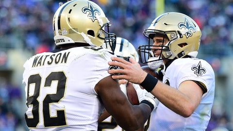 Oct 21, 2018; Baltimore, MD, USA; New Orleans Saints tight end Benjamin Watson (82) celebrates with quarterback Drew Brees (9) after catching Brees' 500th career touchdown in the second quarter against the Baltimore Ravens  at M&T Bank Stadium. Mandatory Credit: Tommy Gilligan-USA TODAY Sports