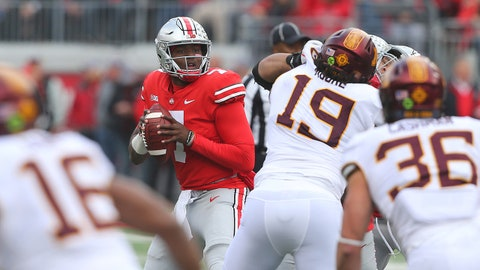 Oct 13, 2018; Columbus, OH, USA; Ohio State Buckeyes quarterback Dwayne Haskins (7) drops to throw against the Minnesota Golden Gophers during the first quarter at Ohio Stadium. Mandatory Credit: Joe Maiorana-USA TODAY Sports