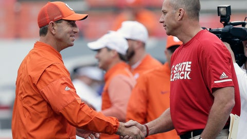 <p>               FILE - In this Nov. 4, 2017, file photo, Clemson head coach Dabo Swinney, left, and North Carolina State head coach Dave Doeren shake hands prior to an NCAA college football game in Raleigh, N.C. Clemson and North Carolina State play on Saturday, Oct. 20.  (AP Photo/Gerry Broome, File)             </p>