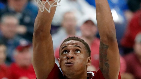 <p>               FILE - In this March 9, 2018, file photo, Arkansas' Daniel Gafford dunks during the second half of an NCAA college basketball game against Florida in the quarterfinals of the Southeastern Conference tournament, in St. Louis. Gafford is back, and that's the good news for an Arkansas team that's reached the NCAA Tournament in three of the last four seasons. Even with the All-SEC center back in the mix, the Razorbacks and coach Mike Anderson return only three scholarship players this year.  (AP Photo/Jeff Roberson, File)             </p>