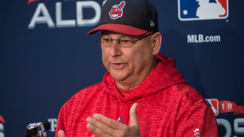 <p>               Cleveland Indians manager Terry Francona answers a question during a  news conference before a workout in Cleveland, Sunday, Oct. 7, 2018. The Indians are scheduled to play the Houston Astros in the third game of their ALDS series Monday. (AP Photo/Phil Long)             </p>