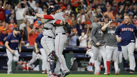<p>               Boston Red Sox relief pitcher Craig Kimbrel celebrates with catcher Christian Vazquez winning the baseball American League Championship Series against the Houston Astros on Thursday, Oct. 18, 2018, in Houston. (AP Photo/David J. Phillip)             </p>