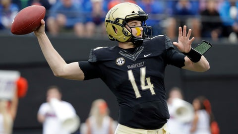 <p>               Vanderbilt quarterback Kyle Shurmur passes against Florida in the first half of an NCAA college football game Saturday, Oct. 13, 2018, in Nashville, Tenn. (AP Photo/Mark Humphrey)             </p>