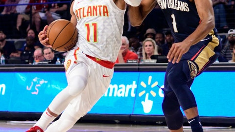 <p>               Atlanta Hawks rookie guard Trae Young (11) drives the lane with New Orleans Pelicans guard Jarrett Jack defending during the second half of a preseason basketball game Monday, Oct. 1, 2018, in Atlanta. The Hawks won 116-102. (AP Photo/John Amis)             </p>
