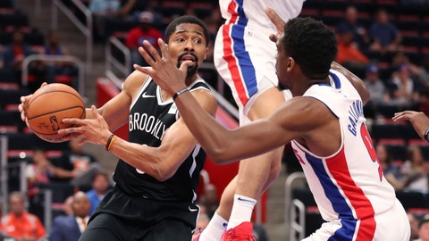 <p>               Brooklyn Nets guard Spencer Dinwiddie, left, looks to pass around Detroit Pistons guard Langston Galloway (9) during the first half of an NBA preseason basketball game, Monday, Oct. 8, 2018, in Detroit. (AP Photo/Carlos Osorio)             </p>