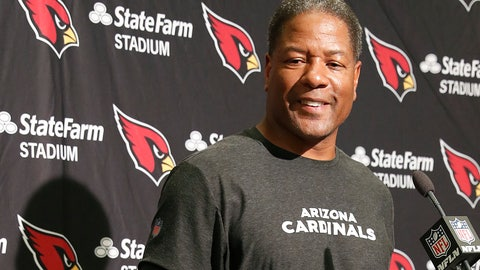 <p>               Arizona Cardinals head coach Steve Wilks smiles at a news conference after an NFL football game against the San Francisco 49ers in Santa Clara, Calif., Sunday, Oct. 7, 2018. The Cardinals won 28-18. (AP Photo/Tony Avelar)             </p>