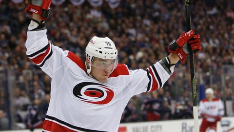 <p>               Carolina Hurricanes' Micheal Ferland celebrates his goal against the Columbus Blue Jackets' during the third period of an NHL hockey game Friday, Oct. 5, 2018, in Columbus, Ohio. The Hurricanes beat the Blue Jackets 3-1. (AP Photo/Jay LaPrete)             </p>