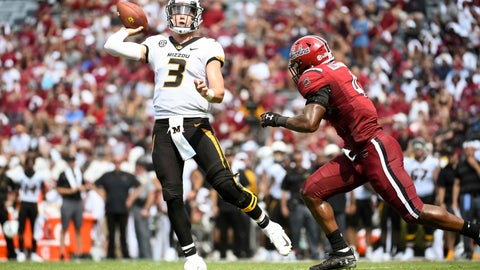 <p>               Missouri quarterback Drew Lock (3) attempts a pass against South Carolina linebacker Bryson Allen-Williams (4) during the first half of an NCAA college football game Saturday, Oct. 6, 2018, in Columbia, S.C. (AP Photo/Sean Rayford)             </p>