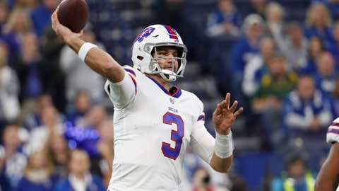 <p>               Buffalo Bills quarterback Derek Anderson (3) throws against the Indianapolis Colts during the first half of an NFL football game in Indianapolis, Sunday, Oct. 21, 2018. (AP Photo/John Minchillo)             </p>