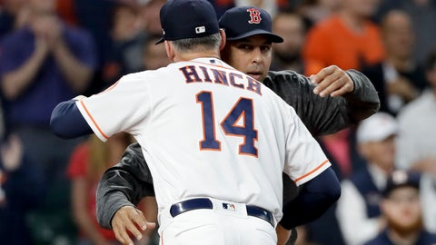 <p>               Houston Astros manager AJ Hinch, left, and Boston Red Sox manager Alex Cora hug before Game 3 of a baseball American League Championship Series on Tuesday, Oct. 16, 2018, in Houston. (AP Photo/David J. Phillip)             </p>
