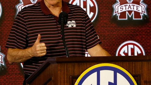 <p>               Mississippi State coach Ben Howland speaks to media during the SEC men's NCAA college basketball media day, Wednesday, Oct. 17, 2018, in Birmingham, Ala. (AP Photo/Butch Dill)             </p>