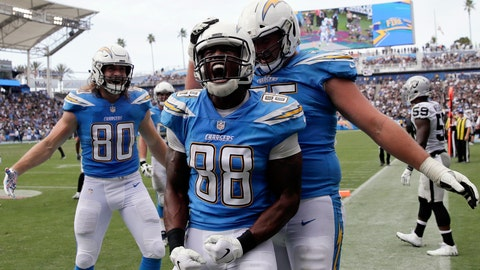 <p>               Los Angeles Chargers tight end Virgil Green (88) celebrates his touchdown during the second half of an NFL football game against the Oakland Raiders, Sunday, Oct. 7, 2018, in Carson, Calif. (AP Photo/Jae C. Hong)             </p>