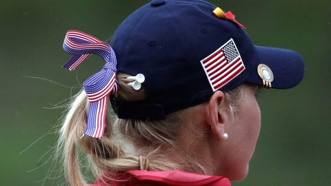 <p>               Jessica Korda of the United States wears golf tees in her hair during the UL International Crown golf tournament between the United States and Thailand at the Jack Nicklaus Golf Club Korea, in Incheon, South Korea, Friday, Oct. 5, 2018. (AP Photo/Lee Jin-man)             </p>