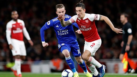<p>               Leicester City's James Madison, left, vies for the ball with Arsenal's Hector Bellerin during the English Premier League soccer match between Arsenal and Leicester City at the Emirates stadium in London, Monday, Oct. 22, 2018. (AP Photo/Alastair Grant)             </p>