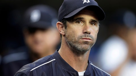 <p>               FILE - In this Sept. 22, 2017, file photo, Detroit Tigers manager Brad Ausmus appears in the dugout before a baseball game against the Minnesota Twins, in Detroit. Ausmus has been named the Los Angeles Angels' manager. General manager Billy Eppler on Sunday, Oct. 21, 2018, announced the hiring of Ausmus, who served as his special assistant last season. (AP Photo/Carlos Osorio, File)             </p>