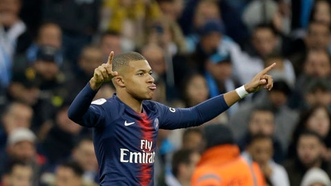 <p>               PSG's Kylian Mbappe celebrates after scoring a goal during the French League One soccer match between Paris-Saint-Germain and Marseille at the Velodrome Stadium in Marseille, France, Sunday, Oct. 28, 2018. (AP Photo/Claude Paris)             </p>