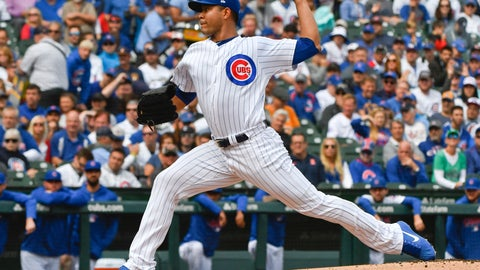 <p>               Chicago Cubs starting pitcher Jose Quintana (62) delivers during the first inning of a tiebreaker baseball game against the Milwaukee Brewers on Monday, Oct. 1, 2018, in Chicago. (AP Photo/Matt Marton)             </p>