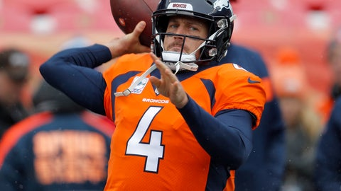 <p>               Denver Broncos quarterback Case Keenum (4) warms up prior to an NFL football game against the Los Angeles Rams, Sunday, Oct. 14, 2018, in Denver. (AP Photo/David Zalubowski)             </p>