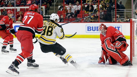 <p>               Carolina Hurricanes goalie Scott Darling (33) blocks while Justin Faulk (27) defends against Boston Bruins' David Pastrnak (88), of the Czech Republic, during the first period of an NHL hockey game in Raleigh, N.C., Tuesday, Oct. 30, 2018. (AP Photo/Gerry Broome)             </p>