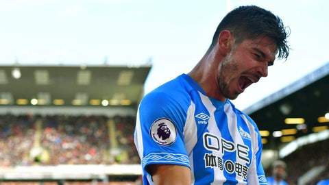 <p>               Huddersfield Town's Christopher Schindler celebrates scoring his side's first goal of the game,  during the English Premier League soccer match between Burnley and Huddersfield Town, at Turf Moor, Burnley, England, Saturday Oct. 6, 2018. (Anthony Devlin/PA via AP)             </p>