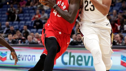 <p>               Toronto Raptors forward Pascal Siakam (43) drives against New Orleans Pelicans forward Anthony Davis (23) during the first half of a preseason NBA basketball game in New Orleans, Thursday, Oct. 11, 2018. (AP Photo/Scott Threlkeld)             </p>