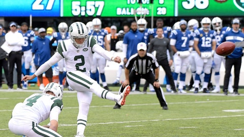 <p>               New York Jets kicker Jason Myers (2), with Lac Edwards (4) holding, kicks his sixth field goal of the game during the second half of an NFL football game against the Indianapolis Colts, Sunday, Oct. 14, 2018, in East Rutherford, N.J. (AP Photo/Bill Kostroun)             </p>
