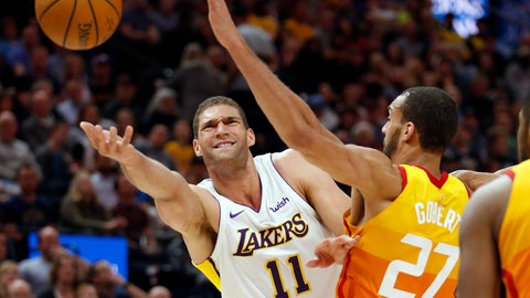 <p>               In this Tuesday, April 3, 2018 file photo, Los Angeles Lakers center Brook Lopez (11) lays the ball up as Utah Jazz center Rudy Gobert (27) defends during the first half of an NBA basketball game in Salt Lake City.  Lopez, the Milwaukee Bucks' key free agent acquisition is a big man who could have an impact on the floor from the perimeter. (AP Photo/Rick Bowmer, File)             </p>