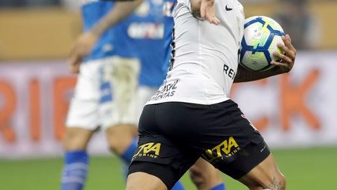 <p>               Jadson of Corinthians celebrates after scoring a penalty shot against Cruzeiro during the final soccer match of the Brazil Cup in Sao Paulo, Brazil, Wednesday, Oct. 17, 2018. (AP Photo/Andre Penner)             </p>