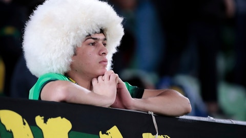 <p>               In this photo taken on Friday, Oct. 19, 2018, Anzhi Makhachkala's fan watches the Russian Primer League soccer match between CSKA Moscow and Anzhi Makhachkala in Makhachkala, Russia. The Russian North Caucasus looked like it could be football's future, but now Anzhi Makhachkala has gone from boom to bust. (AP Photo/Denis Tyrin)             </p>
