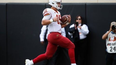 <p>               Iowa State quarterback Brock Purdy (15) runs into the end zone with a touchdown in the first half of an NCAA college football game in Stillwater, Okla., Saturday, Oct. 6, 2018. (AP Photo/Sue Ogrocki)             </p>